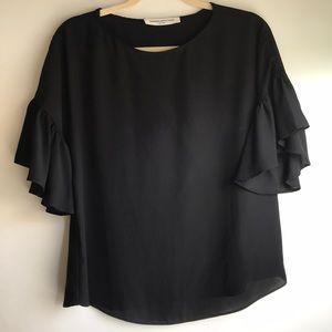 Black flutter sleeve top
